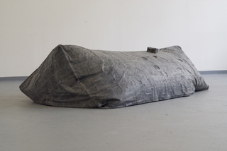 "EXHAUSTED ROOM, 2015, fabric, rubber, pigment, pvc, 240x50x90 cm, Installation view: ""EN FACE"", Halle 71, Berlin, 2015"