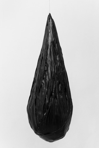 BLACK CLUSTER I, 2014, clothes, wax, steel wire, 128x45x45 cm